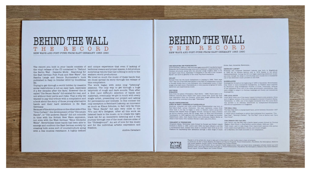 Behind The Wall LP Innenteil